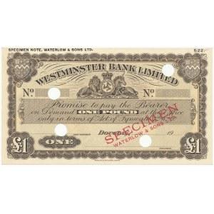 Wyspa Man, Westminster Bank Limited SPECIMEN 1 Pound (1929-55)