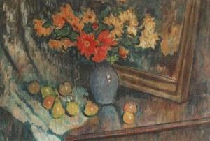 Kazimierz SICHULSKI (1879-1942), Martwa natura z kwiatami i owocami, 1934