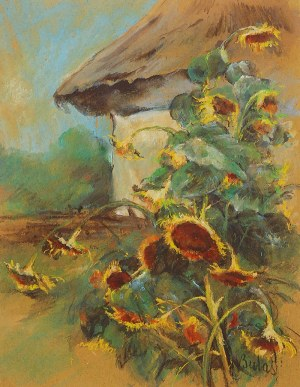 Jan BULAS (1878-1917), Słoneczniki przed chatą