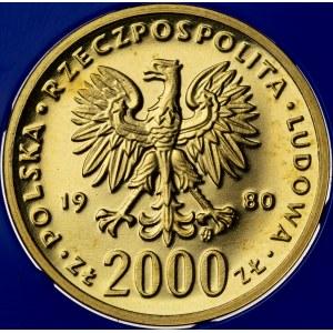2000 zł, 1980, Kazimierz Odnowiciel, Au900, 8g, PRL