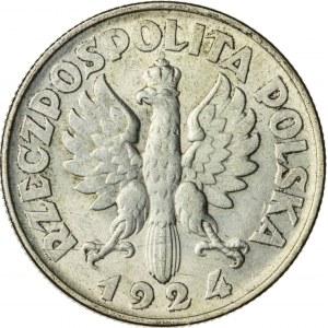 2 zł, 1924, II RP, kobieta z kłosami, Filadelfia
