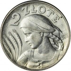 2 zł, 1925, II RP, kobieta z kłosami, po roku kropka