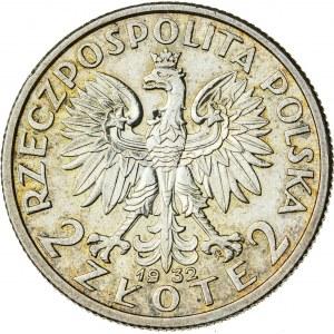2 zł, 1932, II RP, kobieta w czepcu