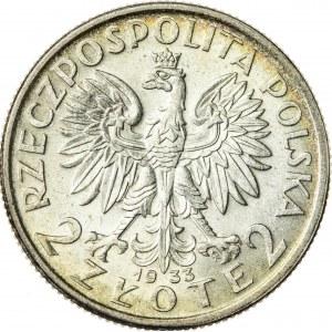 2 zł, 1933, II RP, kobieta w czepcu