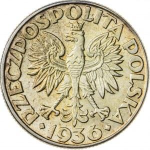2 zł, 1936, II RP, żaglowiec