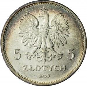 5 zł, 1930, II RP, sztandar, PRZEPIĘKNY, patyna, połysk menniczy