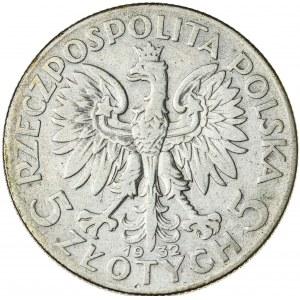 5 zł, 1932, ze znakiem, II RP, kobieta w czepcu