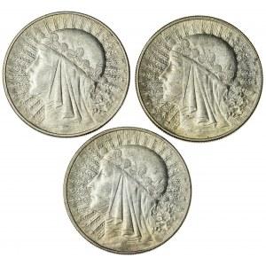 10 zł 1932, 1932 bez znaku, 1933, II RP, zestaw kobieta w czepcu