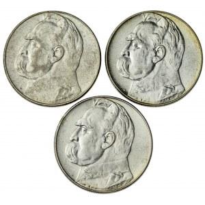 10 zł, 1935, 1936, 1937, II RP, Piłsudski, zestaw