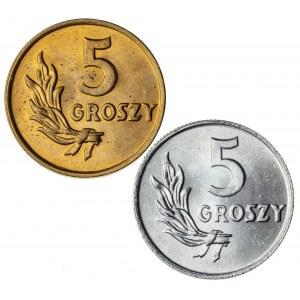 5 gr, 1949, Aluminium+Brąz, PRL, zestaw