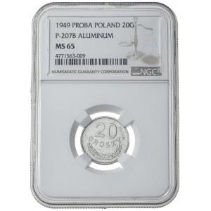 20 groszy, 1949, PRL, PRÓBA, Aluminium