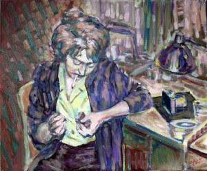 Piotr Pachecki, Kobieta zapalająca papierosa, 2018