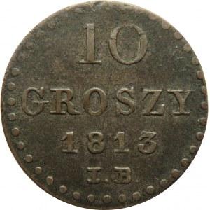 Księstwo Warszawskie, 10 groszy 1813 I.B., ciemna patyna