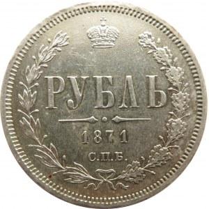 Rosja, Aleksander II, 1 rubel 1871 HI, Petersburg, rzadki rocznik