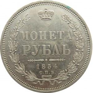 Rosja, Mikołaj I, 1 rubel 1854 HI, Petersburg, wspaniały!