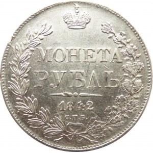 Rosja, Mikołaj I, 1 rubel 1842 A Cz, Petersburg, piękny!!