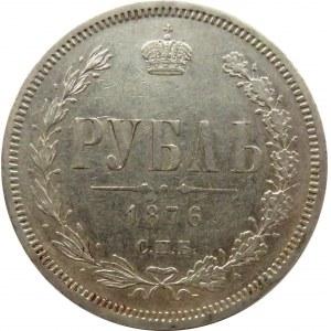 Rosja, Aleksander II, 1 rubel 1876 HF, Petersburg, ładny