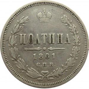 Rosja, Aleksander II, połtina 1861 FB, Petersburg, rzadka R1!!