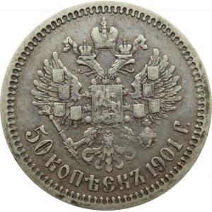 Rosja, Mikołaj II, 50 kopiejek 1901 AP, Petersburg, rzadkie