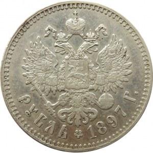 Rosja, Mikołaj II, 1 rubel 1897 **, Bruksela, ładny