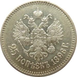 Rosja, Mikołaj II, 25 kopiejek 1896, Petersburg, bardzo ładne