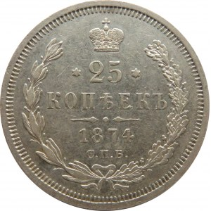 Rosja, Aleksander II, 25 kopiejek 1874 HI, Petersburg, rzadki rocznik