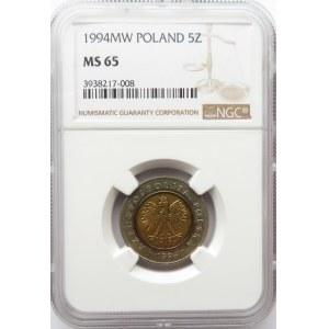 Polska, III RP, 5 złotych 1994, NGC MS65
