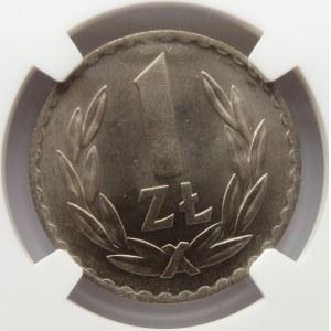 Polska, RP, 1 złoty 1949, NGC MS66, Kremnica, rewelacyjny stan!