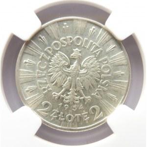 Polska, II RP, J. Piłsudski, 2 złote 1934, NGC AU58