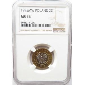 Polska, III RP, 2 złote 1995, NGC MS66