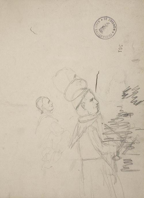 Jacek Malczewski (1854-1929), Trzy szkice postaci świętego mnicha z profilu