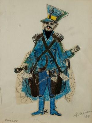 """Józef Szajna (1922 – 2008), Projekt kostiumu do """"Rewizora"""" Gogola, 1963 r."""