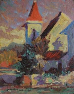Jerzy Potrzebowski (1921-1974), Pejzaż z wieżą