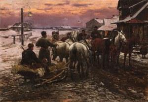 Alfred Wierusz-Kowalski, Wyjazd na polowanie o świcie, przed 1880