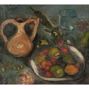 Marek SZWARC (1892-1958), Martwa natura z owocami na talerzu,1921