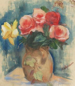 Abraham WEINBAUM (1890-1943), Martwa natura z bukietem róż