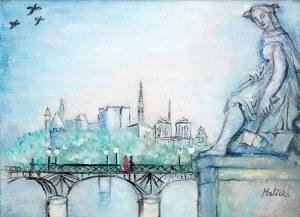 Alicja Halicka (1894 Kraków – 1975 Paryż) Paryż – Widok na Pont des Arts i Notre Dame, l. 30. XX w.