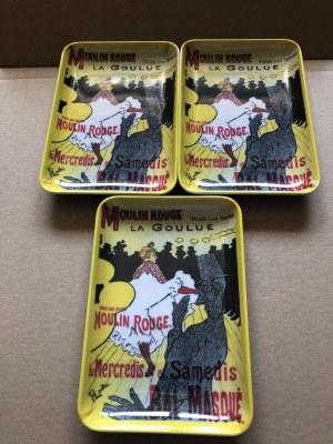 3 tacki zdobione motywem z plakatu Henri Toulouse-Lautreca dla Moulin Rouge
