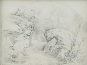 ARTUR GROTTGER (1837-1867), Pejzaż ze skałami i lasem, 1860