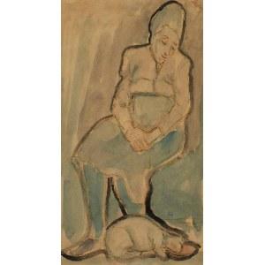 MAREK SZWARC (1892-1958), Kobieta z kotem, 1949