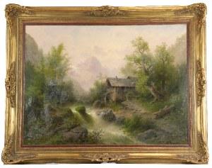 Albert RIEGER (1834-1905), Pejzaż górski z młynem, 1877