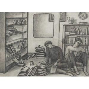 Ewa KIERSKA HOFFMANN (1923-2013), W domowej bibliotece, lata 50. XX w.