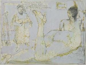 Tomasz KAZIKOWSKI (ur. 1952), Malarz i modelka w pracowni, 1993 r.