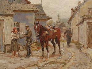 Stanisław BAGIEŃSKI (1876-1948), Ułan i dziewczyna, 1939