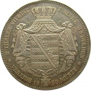 Niemcy, Saksonia, 2 talary 1850 F, Stuttgart, bardzo ładne i rzadkie
