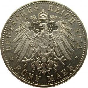 Niemcy, Bawaria, Ludwig III 5 marek 1914 D, Monachium, UNC