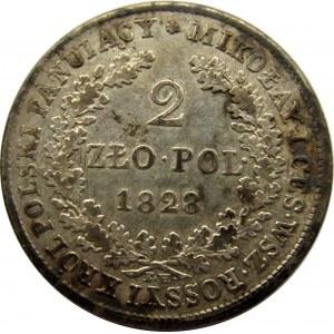 Mikołaj I, 2 złote 1828 F.H., Warszawa, rzadki rocznik!