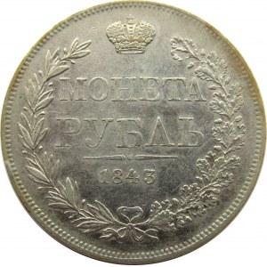 Mikołaj I, 1 rubel 1843 MW, Warszawa, nowy typ orła