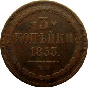 Mikołaj I, 3 kopiejki 1853 B.M., Warszawa, ładne i rzadkie