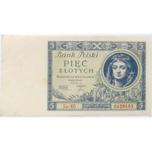 Polska, II RP, 5 złotych 1930, seria BO, UNC/UNC-